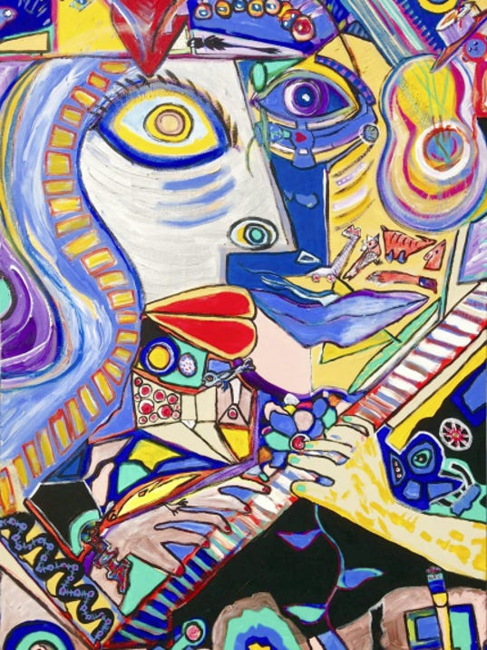 """For the Love of Music,"" by Scott Christopher. Artwork by Scott and Elizabeth Christopher will be on display April 25 through May 14 in Mercersburg Academy's Burgin Center for the Arts."