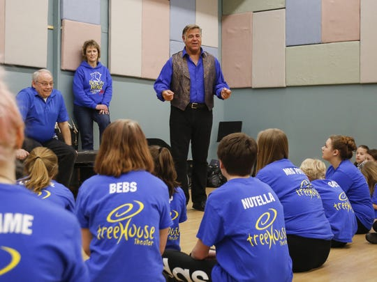 Actor Chuck Wagner, center, gives acting tips to members of Treehouse Theater during a master class he held in their studio in Manitowoc.