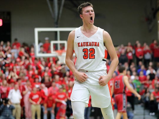 Kaukauna's Dylan Kurey reacts after the Ghosts forced