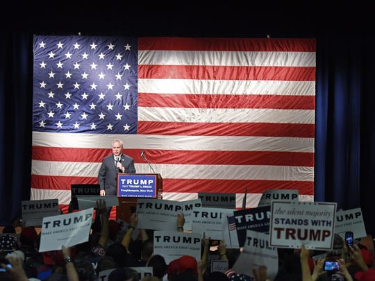 Dutchess County Republican Committee Chair Person, Michael McCormack speaks during the Donald Trump rally at the Mid-Hudson Civic Center on Sunday.