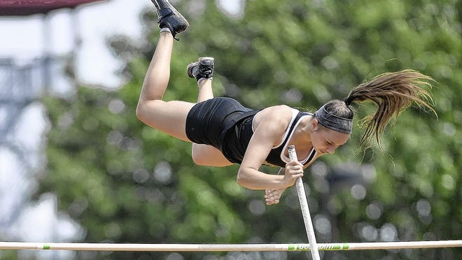 Coffman senior Karlee North competes in the pole vault during the state track and field meet last season at Ohio State. North, who won back-to-back OCC-Central Division titles during her final two prep seasons, was set up for a strong spring before sports were canceled because of the COVID-19 coronavirus pandemic.