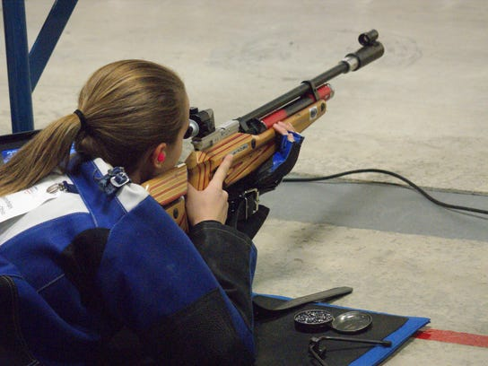 First year shooter Rebecca Spencer used practice time