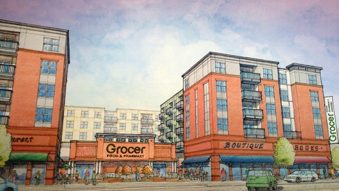 North American Properties unveiled this rendering Thursday showing the architectural concept for a proposed grocery store location on Gaines Street.