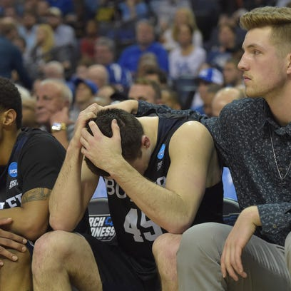 Butler Bulldogs forward Andrew Chrabascz (45) reacts