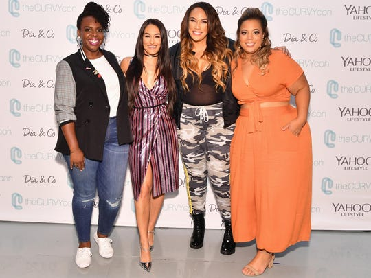 Curvy Con co-founder Cece Olisa, left, Nikki Bella,