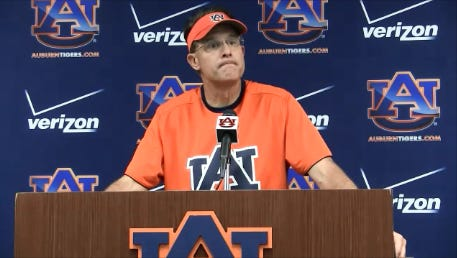 Auburn coach Gus Malzahn talks about Duke Williams after Williams left practice on a golf cart.