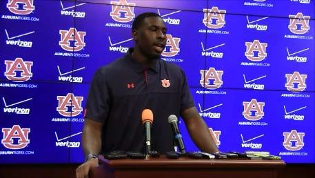 Auburn quarterback Jeremy Johnson talks to the media Tuesday afternoon.