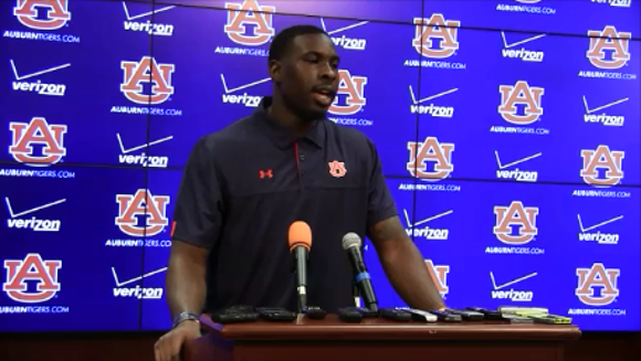 Auburn quarterback Jeremy Johnson talks to the media
