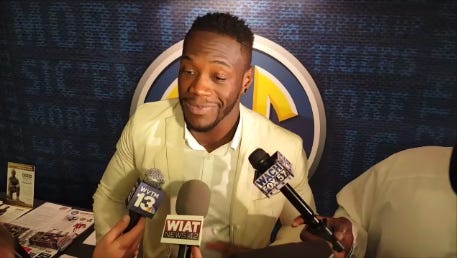 WBC heavyweight champion Deontay Wilder, a Tuscaloosa native, visited SEC Media Days on Wednesday in Hoover.