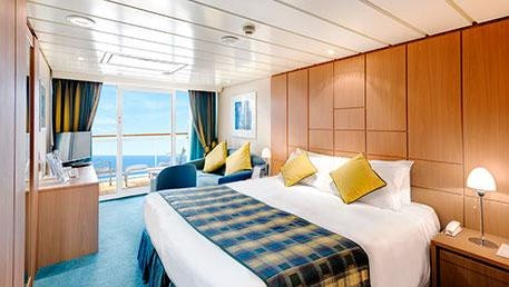 This is the interior of a suite on the MSC Ambrosia. There are 130 suites, 290 square feet each.