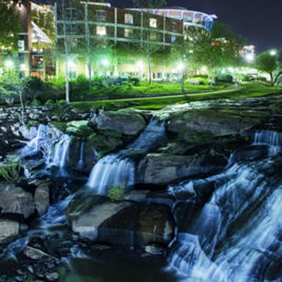 The Reedy River falls from the Liberty Bridge in downtown