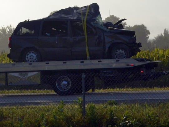One of the vehicles involved in an early-morning crash