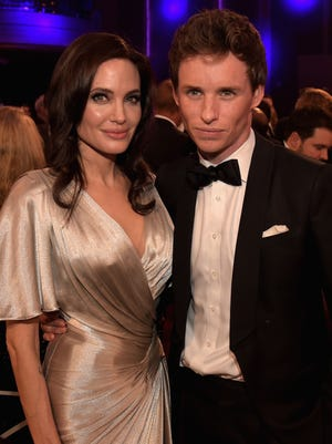 Angelina Jolie and Eddie Redmayne chatted during a break at the Critics' Choice Movie Awards.