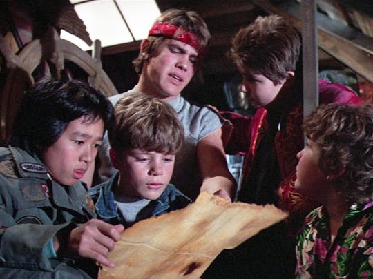 A scene from the 1985 film 'The Goonies.'  From left: Ke Huy Quan, Sean Astin, Josh Brolin, Corey Feldman, Jeff Cohen.  Credit: Warner Bros.