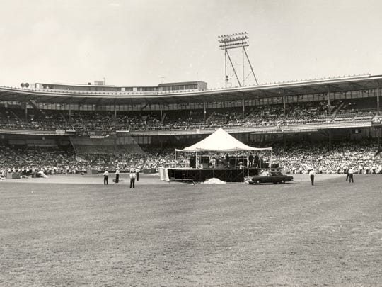 The stage for the Beatles' concert sat at second base