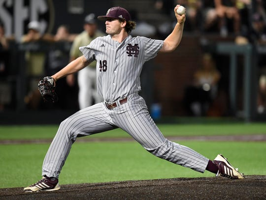 Mississippi St. pitcher Konnor Pilkington (48) throws