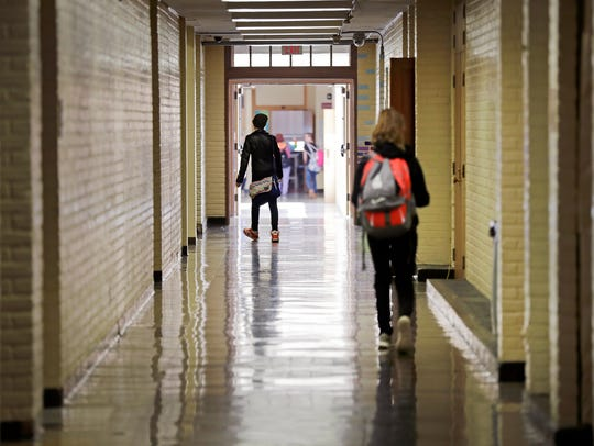 Students walk the hallways at Shattuck Middle School in Neenah on Tuesday. Wm. Glasheen?USA TODAY NETWORK-Wisconsin.