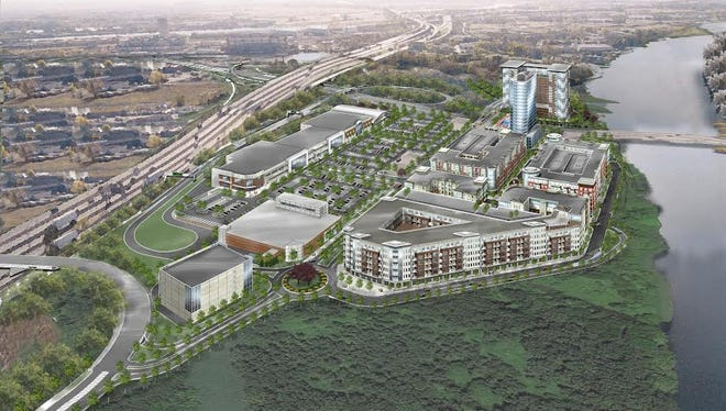 An artist's rendering of the proposed SkyMark residential and commercial development in Ridgefield Park. The open-space area for a pair of eagles is at the southern end of the tract.