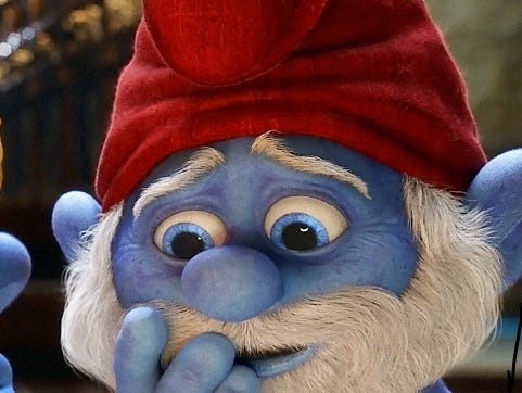 Papa Smurf or blue David Letterman? You be the judge.