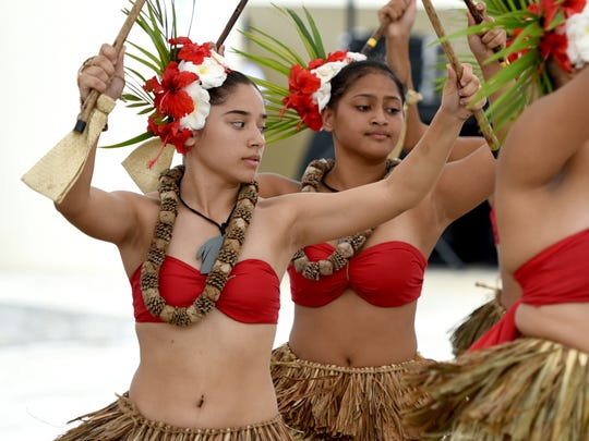 Dancers of the Guma' Fuetsan Åcho' Latte cultural group perform for those attending the Inacha'ikak Bailan Taotao Tåno', or Dance of Our People competition, during the Silibrasion Gupot Chamoru 2018 at the Chamorro Village in Hagåtña on Saturday, March 24, 2018. The event, hosted by the Guam Department of Education Chamoru Studies, was held as part of the ongoing Mes Chamoru, or Chamorro Month, celebration.
