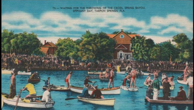 A vintage postcard depicts the unique Epiphany celebration held each January 6th in Tarpon Springs.