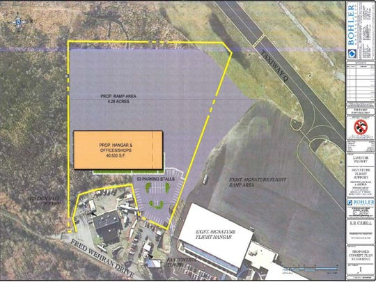 The eastern project for Signature Flight Support, which would add a 40,500-square-foot hangar to Teterboro Airport.