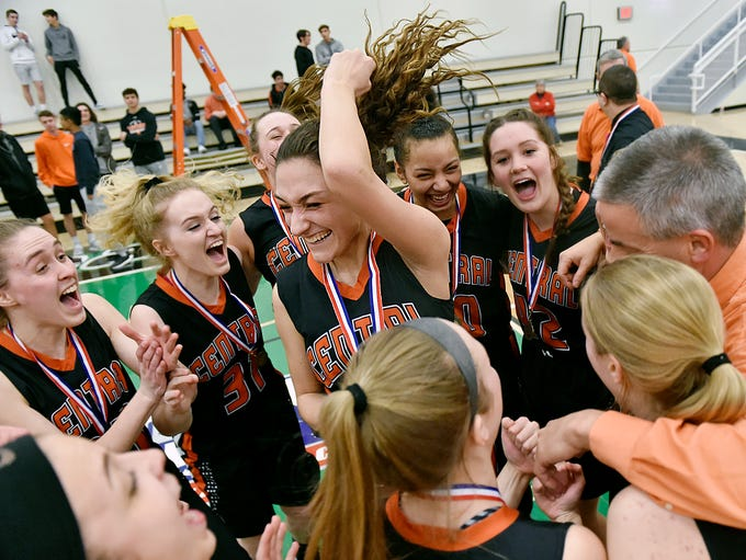 Central York's Sarah Sepic celebrates with her teammates