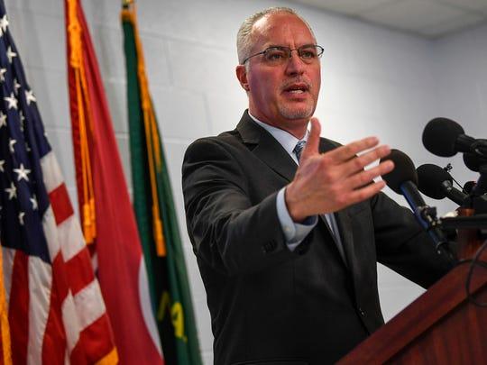 Davidson County Sheriff Daron Hall addresses the media