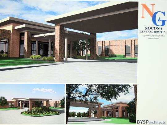 An artists rendering of the exterior of what the renovated Nocona General Hospital will look like after an eight-month, $3.5 million project is seen here. Bundy, Young, Sims and Potter of Wichita Falls designed the new concept of the hospital.