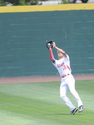 Albany center fielder Roman Fuentes makes the final