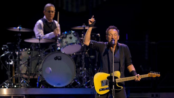 Bruce Springsteen and Max Weinberg of the E Street Band, Sunday, January 31, 2016, at the Prudential Center in Newark.