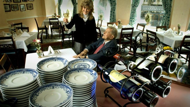 The Watts Tea Shop in 2004, with George Watts, the late grandson of the founder.