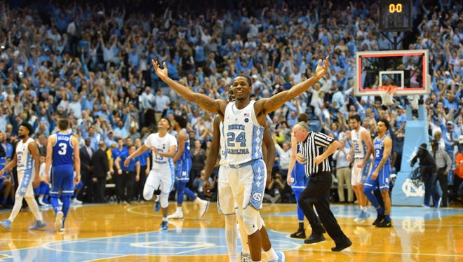 North Carolina guard Kenny Williams reacts after the Tar Heels defeated Duke at Dean E. Smith Center in Chapel Hill, N.C.