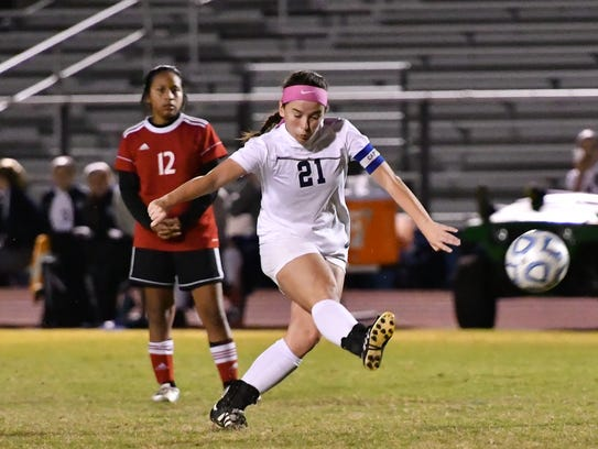 Siegel's Sarah Williams boots the all downfield during Tuesday's 3-1 win over Coffee County.