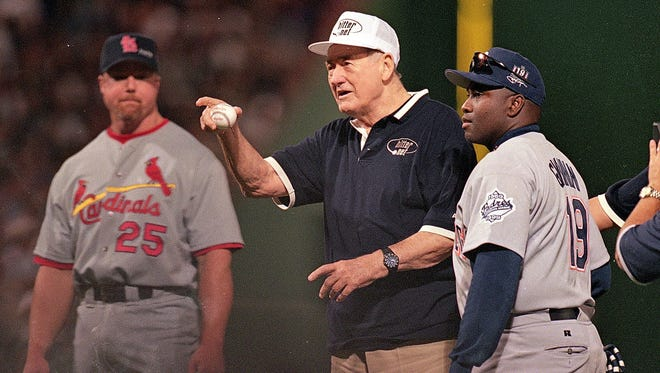 Tony Gwynn and Ted Williams at the 1999 All-Star Game in Boston.