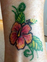 The hibiscus on 70-year-old Paula Kotowski, which was