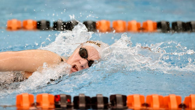Central York's Micah Sopko swims the girls' 200-yard freestyle for a first-place finish on the first day of the 2018 YAIAA swimming championships Thursday, Feb. 8, 2018, at Central York.