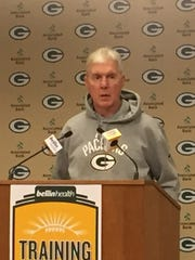 Packers general manager Ted Thompson addresses reporters