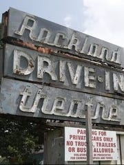 The sign for the long-dark Rockland Drive-In Theatre