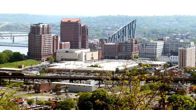 A view of the Covington skyline from Devou Park overlook.