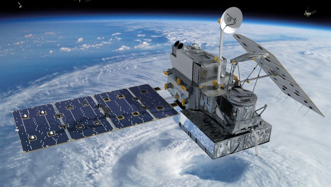An artist's rendering of the GPM satellite orbiting the Earth.