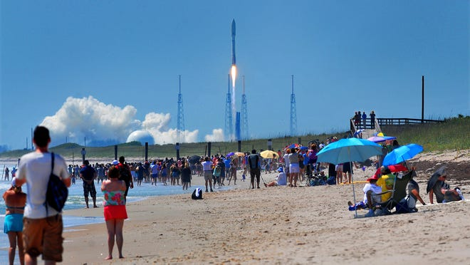 Hundreds of people packed the Canaveral National Seashore for Wednesday morning's United Launch Alliance Atlas V launch. The rocket is carrying the X-37B Space Plane and Solar Sail.