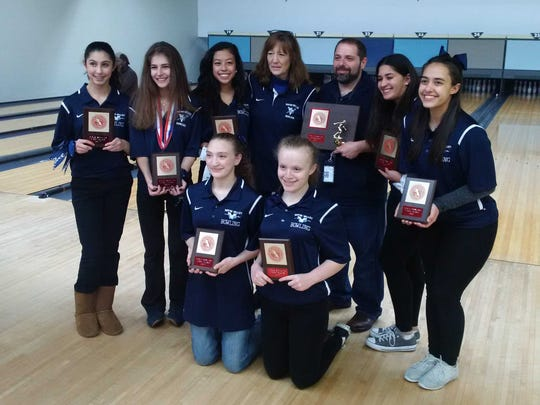 Led by Hayley D'Alessandro (second from left), Wayne Valley won its fourth straight Passaic County girls bowling title in 2017.
