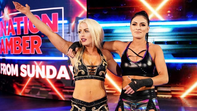 WWE wrestlers Mandy Rose and Sonya Deville