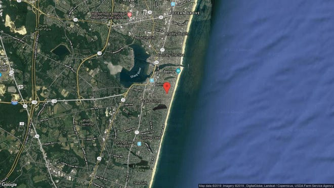 This aerial photo shows the approximate location of 217-217{dot}5 Fourteenth Ave{dot} in Belmar. The property at this address changed hands in May 2019, when  Belmar 3-217 14Th Ave LLC  bought the property from  217 Fourteenth Ave Realty LLC  for $601,000.
