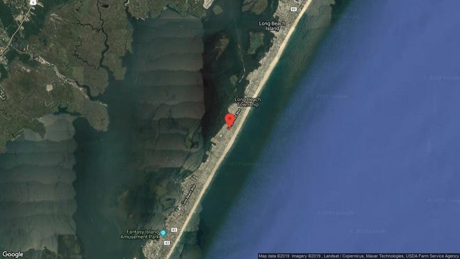 This aerial photo shows the approximate location of 12 E. Sail Boat Drive in Long Beach Township. The property at this address changed hands in May 2019, when new owners bought the property for $1,197,500.