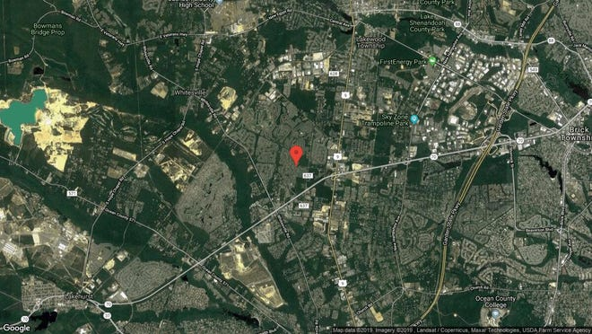 This aerial photo shows the approximate location of 2593 Meadow Lake Drive in Toms River. The property at this address changed hands in July 2019, when new owners bought the property for $280,000.