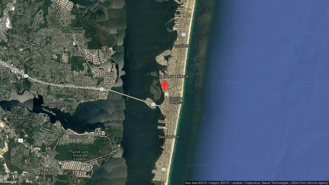 This aerial photo shows the approximate location of 433 Bayside Terrace #1 in Seaside Heights. The property at this address changed hands in June 2019, when new owners bought the property for $355,000.