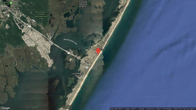 This aerial photo shows the approximate location of 509 N. Ocean Ave. in Surf City. The property at this address changed hands in August 2019, when new owners bought the property for $1,425,000.