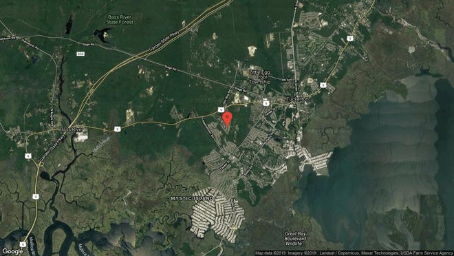 This aerial photo shows the approximate location of 45 Marigold Lane in Little Egg Harbor. The property at this address changed hands in September 2019, when new owners bought the property for $228,000.